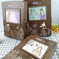 复古夏日时光机创意韩国小学生男女初中生高中生木质盒装密码带锁同学录