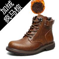 马丁靴男2018冬季新款男士加绒保暖靴子中帮棉靴欧美工装鞋潮