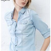 时尚个性女士衬衣 牛仔衬衫女 浅蓝欧美文艺舒适棉修身长袖