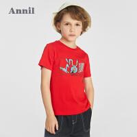 【2件4折价:47.6】安奈儿儿童夏装女童纯棉上衣男童短袖t恤一家三口亲子装2021新款