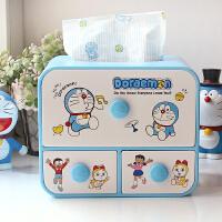 机器猫哆啦A梦叮当猫卡通创意时尚纸抽盒 纸巾盒收纳盒 纸巾抽盒 蓝色