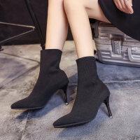 马丁靴短靴尖头高跟鞋细跟2018新款秋冬袜子鞋女靴子欧美英伦时尚