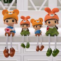 田园家居装饰品隔板置物架小摆件可爱树脂吊脚娃娃儿童卧室摆设