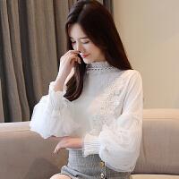 新年特惠喇叭袖蕾丝上衣雪纺衫2019秋季韩版百搭长袖气质女士洋气小衫时尚