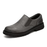 秋季新款商务皮鞋英伦时尚休闲鞋潮男滑工装鞋牛皮男鞋 63316灰色 38