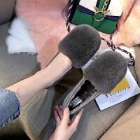 豆豆鞋绒绒鞋女秋冬季新款小码31 真皮外穿兔毛毛鞋防滑厚底