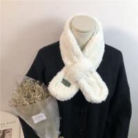 日系甜美学生交叉羊羔毛围脖女秋冬季韩版可爱保暖装饰毛绒脖套潮
