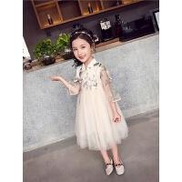 女童连衣裙春装儿童中大童中国风刺绣网纱裙公主裙子