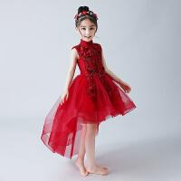 儿童晚礼服长袖蓬蓬纱女童公主裙婚纱花童钢琴演出服