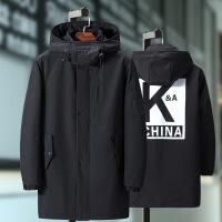 潮牌热推 亲爱的热爱的韩商言李现肖战同款中长款棉衣黑色外套男加肥加大码 黑色