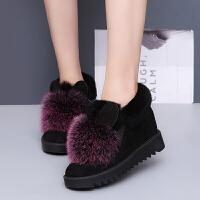 BANGDE毛毛鞋女冬内增高棉鞋外穿加绒厚底狐狸毛雪地棉靴保暖坡跟鞋