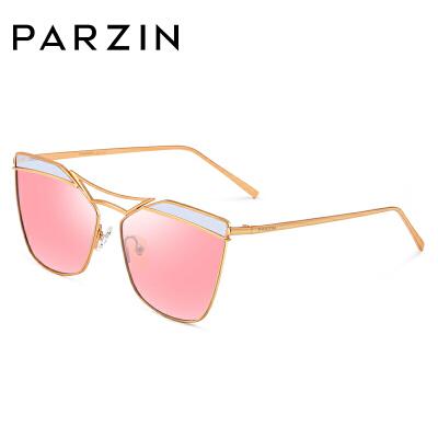 帕森偏光太阳镜女 时尚彩膜浅色镜片个性金属大框潮墨镜 8113