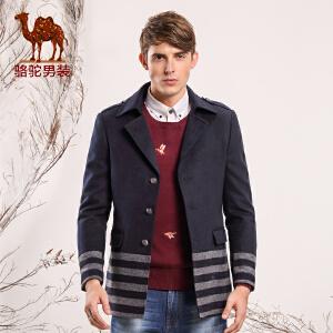 骆驼男装 新款秋季青年西装领长款单排扣毛呢休闲外套大衣男