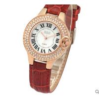 时装表真皮带时尚学生手表复古石英表水钻女表韩国潮流个性