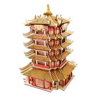 建筑模型制作材料包木质拼图立体3d模型儿童玩具木头房diy拼插积木制建筑