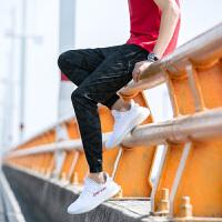 【2件2.5折价129元】唐狮冬新款休闲裤男士休闲男休闲梭织裤小脚迷彩绿色长裤