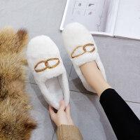 室内加绒保暖毛毛豆豆鞋2018秋冬新款韩版百搭平底单鞋面包鞋女鞋