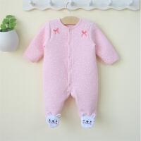 女婴儿连体衣服秋冬初生女宝宝冬装新生儿包脚哈衣0-1岁3-6个月12