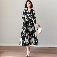安妮纯长款过膝长袖连衣裙2020年新款春装修身显瘦高端气质初春季裙子女