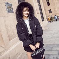 冬装女装2018新款小个子短款大毛领白鸭绒羽绒服女士面包服