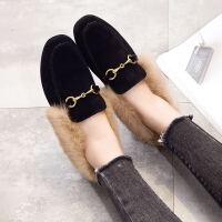 BANGDE毛毛鞋女外穿秋冬新品兔毛乐福鞋加绒平底一脚蹬棉瓢鞋豆豆鞋