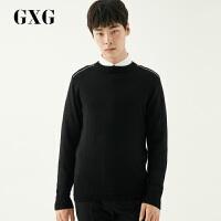 【GXG&大牌日 2.5折到手价:149.75】[特卖]GXG男装 2019冬季修身黑白撞色圆领套头毛衫男#17412