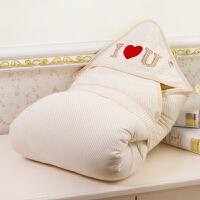 婴儿抱被 大爱心彩棉婴儿包被抱毯秋冬可脱胆