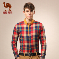 骆驼男装 秋季格子衬衫 纯棉尖领时尚休闲男士长袖衬衣