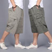 夏季男士短裤七分裤 男装休闲7分裤加肥加大码多口袋工装中裤宽松