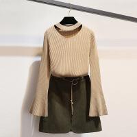 毛衣裙子两件套秋装冬季矮个子网红心机时髦短裙衣服酷潮女套装