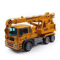 合金工程车超大号吊车惯性仿真起重机儿童钩机模型 男孩玩具车 008吊车(车头合金送飞机)
