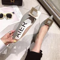单鞋女2019新款时尚尖头浅口低跟女鞋金属方扣气质优雅单鞋女鞋