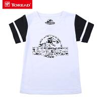 【3折价:48元】探路者儿童童装 新款户外男童休闲印花圆领棉感短袖T恤TAJG81974