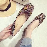 时尚复古女士平底鞋新款舒适浅口方头水钻铆钉百搭女鞋
