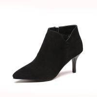 裸靴女鞋加绒新款秋冬尖头高跟短靴女细跟骑士马丁靴性感女靴