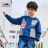 【2件3折:53.7元】小虎宝儿变形金刚男童卫衣运动纯棉儿童2021年款中大童潮