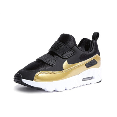 耐克(Nike)童鞋 保暖舒适减震气垫鞋 男女童防滑耐磨运动鞋881926-006 黑色/金色