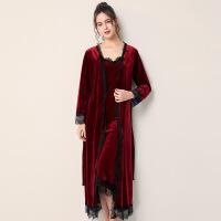 金丝绒睡袍女秋冬季红色新娘婚礼晨袍吊带睡裙伴娘两件套长款睡衣