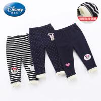 迪士尼宝宝童装婴幼儿女童迪斯尼双层加绒打底裤儿童秋冬保暖长裤