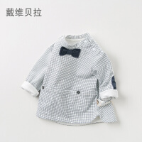 [2件3折价:80.1]戴维贝拉davebella男童T恤 春装新款格子休闲长袖宝宝套头衫