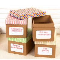 (圆点)畸良DIY彩色牛皮纸收纳盒办公牛皮纸桌面收纳盒资料收纳盒 鞋子储物盒 杂物收纳箱整理盒
