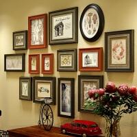 美式乡村照片墙鹿头客厅玄关实木相框墙欧式复古餐厅背景墙相册框