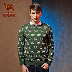 Camel/骆驼毛衣秋冬款男装 新款套头圆领修身提花长袖毛衣男士
