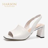 【 限时3折】哈森 2019春夏新款凉鞋 通勤羊皮革一字型粗高跟穆勒鞋女HM97139