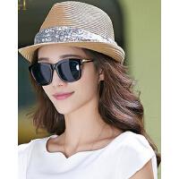户外防晒亮片礼帽   时尚可爱帽子女  韩版潮草帽     遮阳草帽沙滩帽