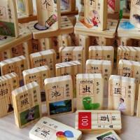 木制多米诺骨牌儿童益智玩具唐诗成语人物水果宝宝识汉字学习积木