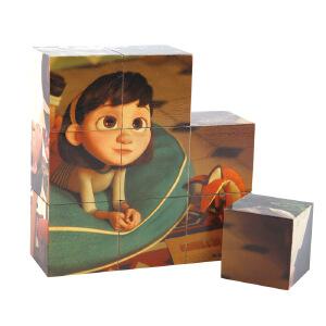 Hape小王子六面拼图24个月以上大块积木玩具儿童木制宝宝益智启蒙智力积木拼插拼图拼板824679