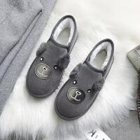 雪地靴女2018冬季新款韩版平底百搭学生加绒可爱棉鞋一脚蹬面包鞋