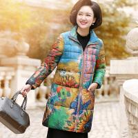 妈妈冬装印花羽绒外套中年女中长款棉衣中老年中国风时尚棉袄