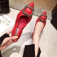 春季休闲复古风女士单鞋新款浅口尖头平底百搭舒适女鞋